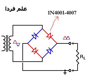 مدار یکسو ساز با دیود 1N4001