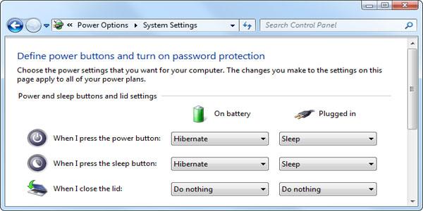 تنظیمات برق در ویندوز