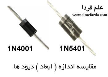 مقایسه ابعاد و اندازه 1N5401 در برابر 1N4001