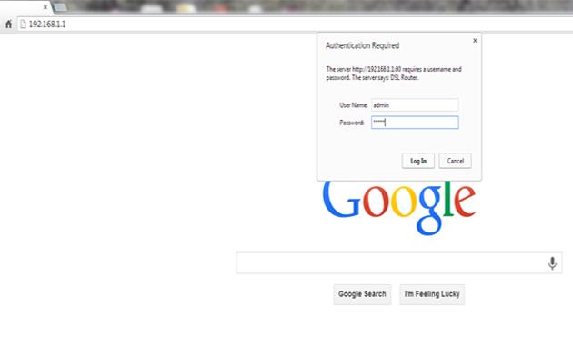 ورود به صفحه تنظیمات مودم ADSL