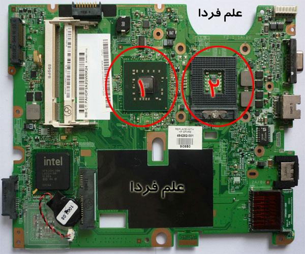 سوکت CPU لپ تاپ و چیپ لحیم شده گرافیک