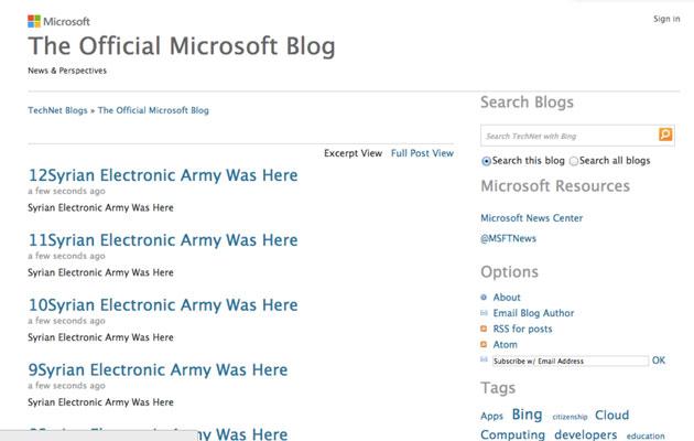 وبلاگ رسمی مایکروسافت توسط ارتش الکترونیکی سوریه هک شد