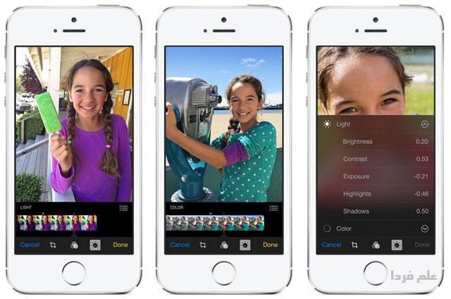 ویژگی های جدید نرم افزار ویرایش عکس Photos در iOS 8
