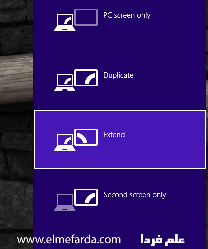 آپشن اتصال لپ تاپ به تلویزیون در ویندوز 8