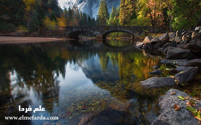 Bridge-Across-The-Merced-River,-Yosemite,-Usa