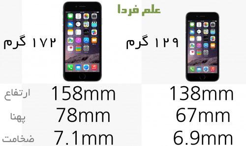 مقایسه آیفون ۶ و آیفون ۶ پلاس . وزن و ابعاد
