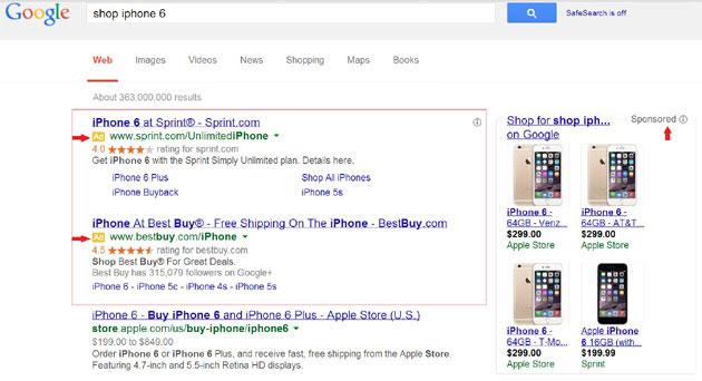 نمونه ای از تبلیغات در گوگل یا گوگل ادوردز Google Adwords