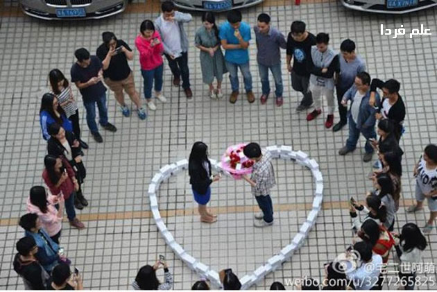 جوان چینی با 99 تا آیفون 6 از دختر مورد علاقه اش خواستگاری کرد