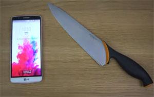 تست چاقو گوشی LG G3