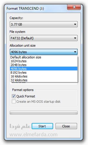 فرمت فلش مموری در ویندوز - Allocation unit size