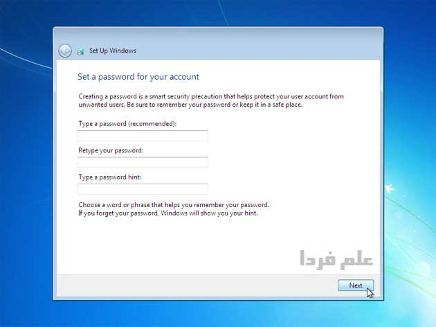نصب ویندوز ۷ - مرحله 11 - وارد کردن رمز عبور