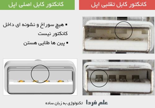 مقایسه داخل کانکتور usb کابل اصلی اپل