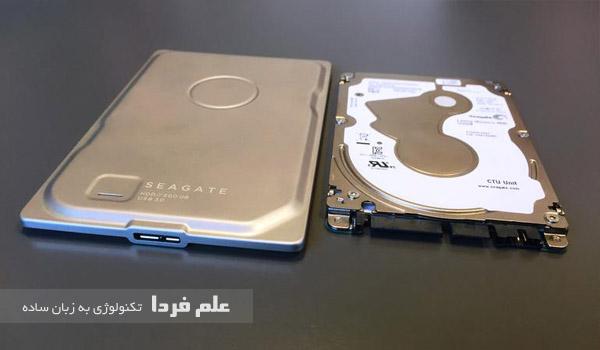 مقایسه اندازه هارد اکسترنال seagate seven با هارد لپ تاپ