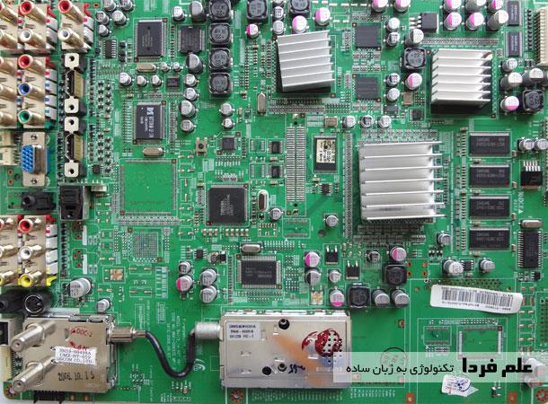 بورد اصلی تلویزیون سامسونگ متشکل از قطعات الکترونیک
