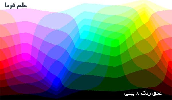 عمق بیت رنگ - 8 بیت به ازای هر پیکسل