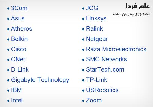 تولید کنندگان کارت شبکه در دنیا
