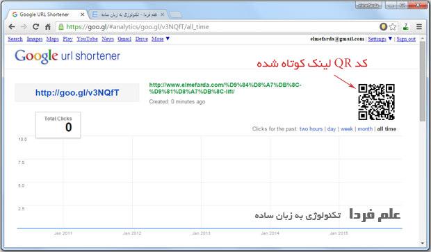 کد QR و آمار بازدید از لینک های کوتاه شده