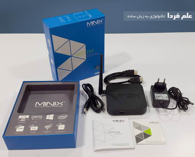 اقلام موجود در بسته مینی کامپیوتر Minix NEO Z64
