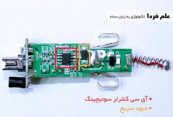 قطعات داخلی شارژر فندکی - چیپ کنترل کننده سوئیچینگ