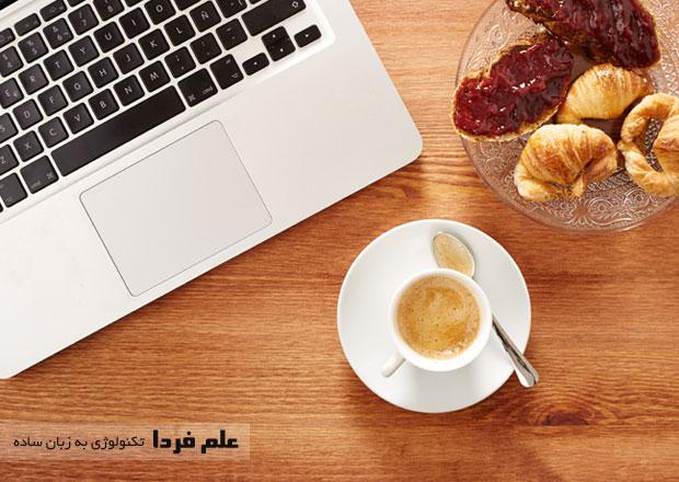 موقع استفاده از لپ تاپ غذا و نوشیدنی نخورید
