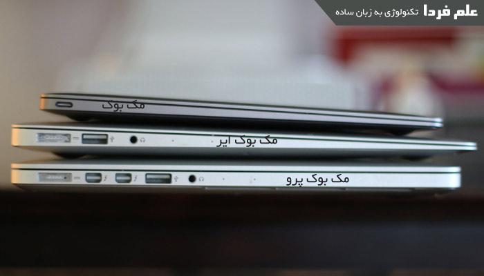 تفاوت لپ تاپ های اپل از نظر پورت - سمت راست