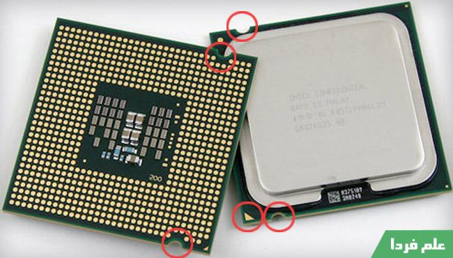علامت روی CPU برای نصب سی پی یو در سوکت