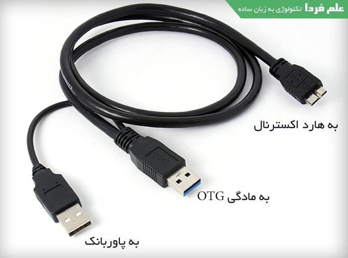 کابل USB شکل Y برای اتصال گوشی به هارد