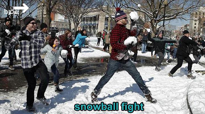برف بازی به انگلیسی snowball fight