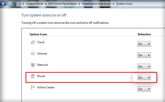 نمایش آیکون باتری لپ تاپ در ویندوز 7 و 8