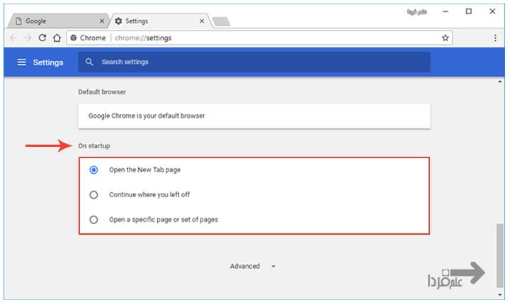تنظیمات مربوط به on startup در گوگل کروم