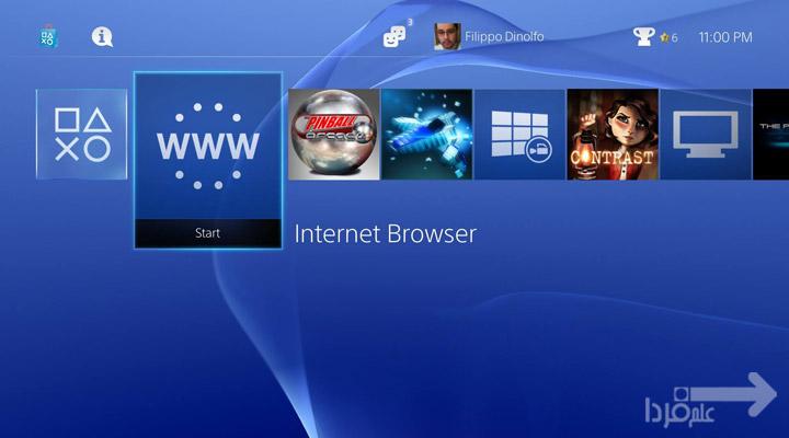 مرورگر اینترنت PS4