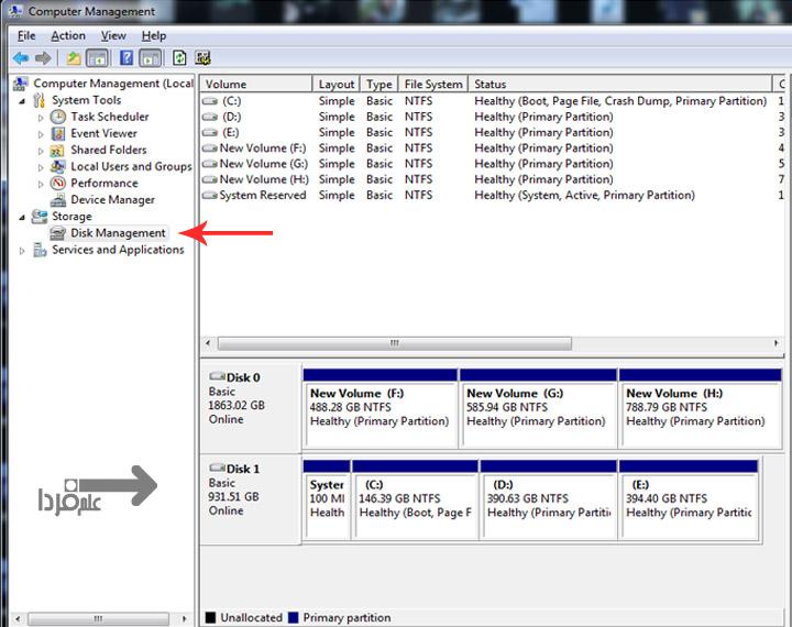 گزینه Disk Management برای نصب دو هارد در یک کامپیوتر